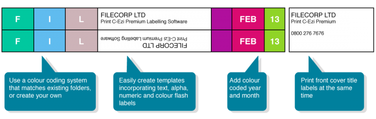 Filecorp DIY Print C-Ezi Colour Coded label printing